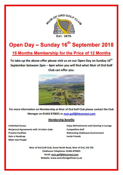 Muir of Ord Golf Club Opening Day